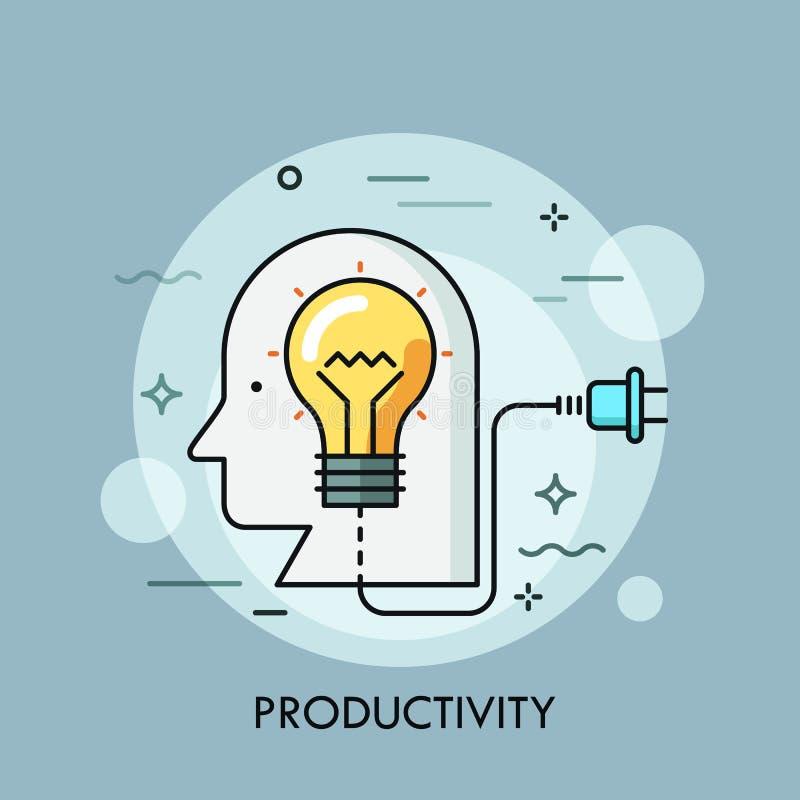 Cabeza humana con la bombilla interior y el enchufe Concepto de productividad, creatividad, generación de la idea, eficacia ilustración del vector