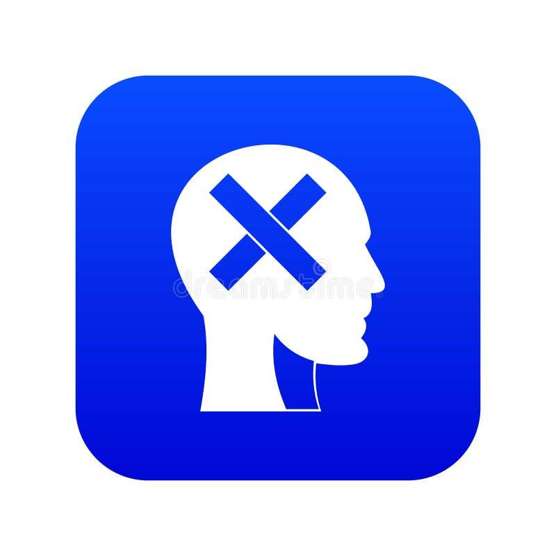 Cabeza humana con la cruz dentro del azul digital del icono libre illustration
