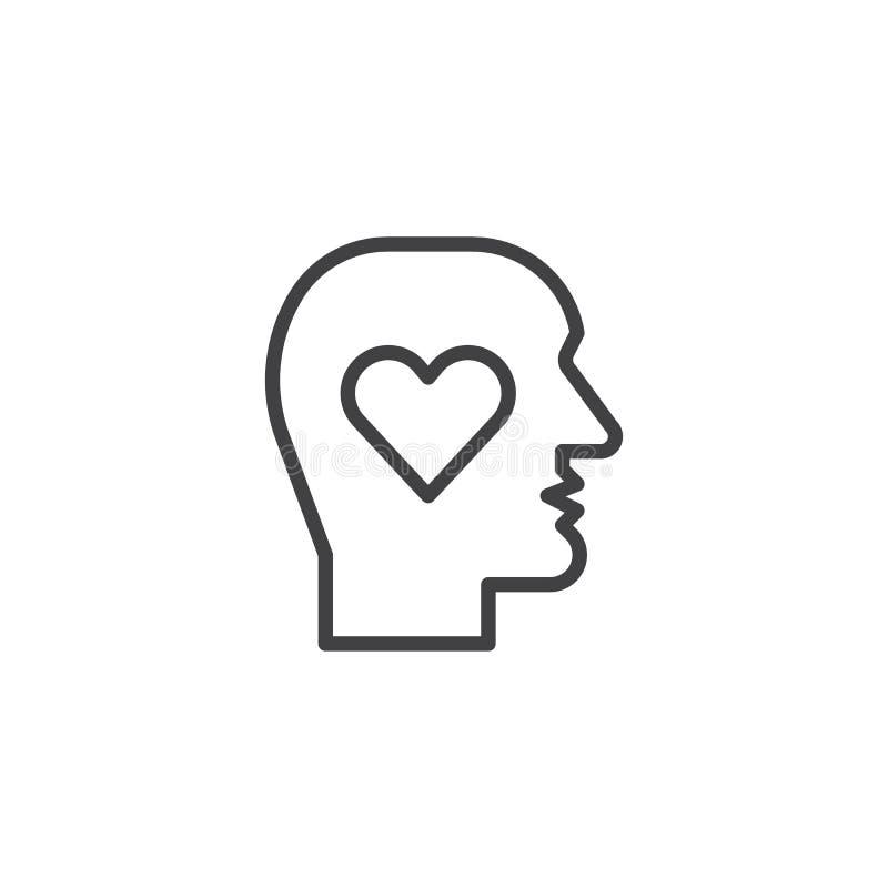 Cabeza humana con la línea de corazón icono stock de ilustración