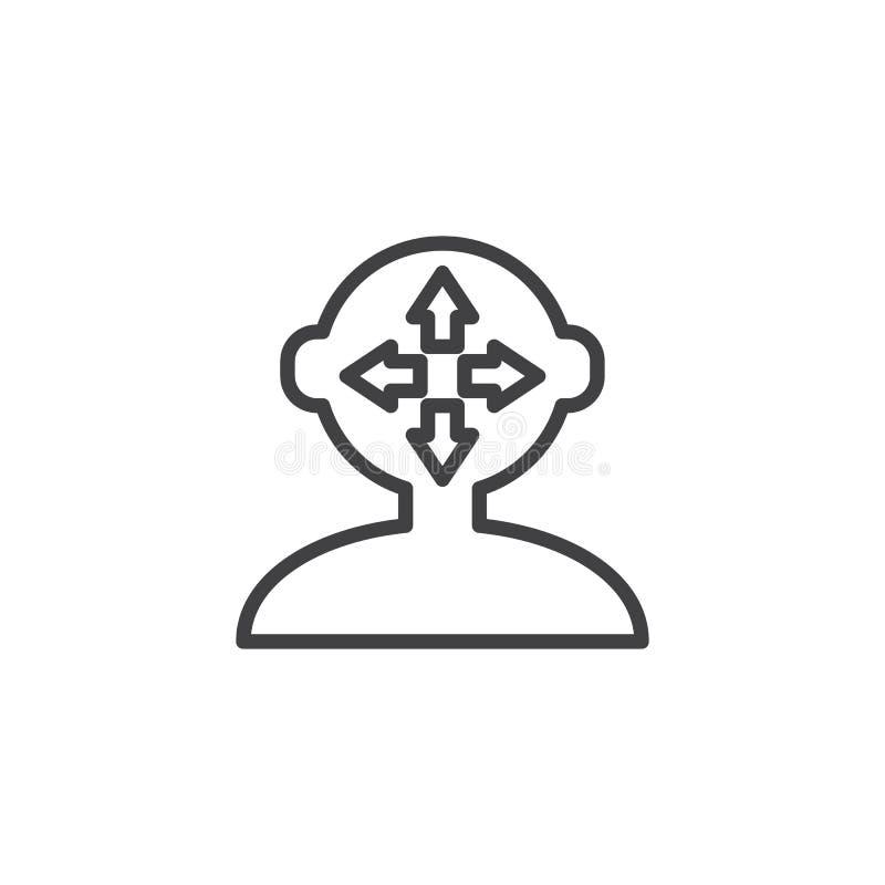 Cabeza humana con las flechas dentro del icono del esquema libre illustration