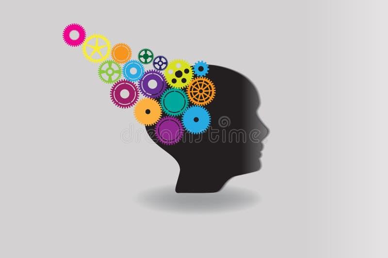 Cabeza humana con los engranajes coloridos Vector del logotipo del concepto de las ideas libre illustration