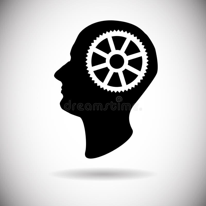 Cabeza humana con proceso de la reunión de reflexión del icono de la rueda dentada ilustración del vector
