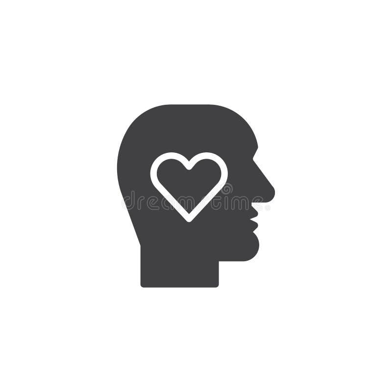 Cabeza humana con vector del icono del corazón stock de ilustración