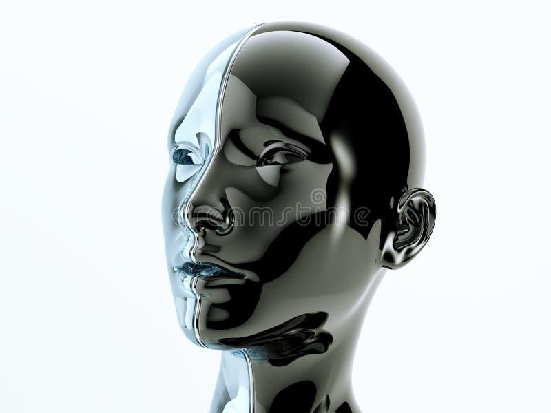 Cabeza humana de cristal separada por la línea como símbolo de la balanza y de la zambullida ilustración del vector