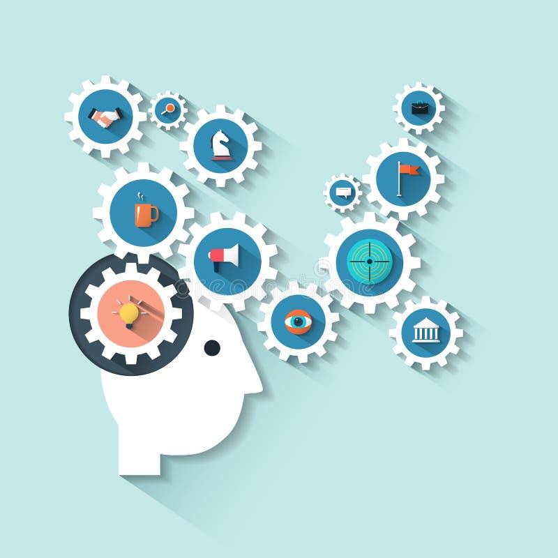 Cabeza humana del ejemplo con los engranajes Proceso de la estrategia empresarial del pensamiento creativo stock de ilustración