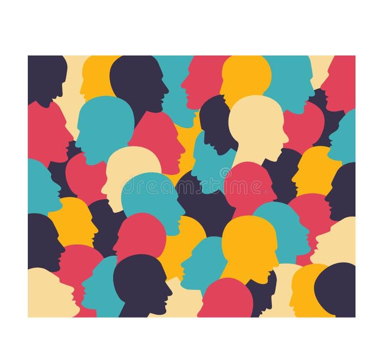 Cabeza humana del perfil en diálogo. Diseño simplemente plano. ilustración del vector