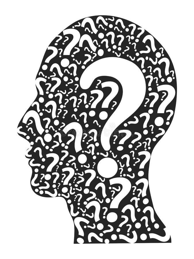 Cabeza humana llenada de los signos de interrogación stock de ilustración