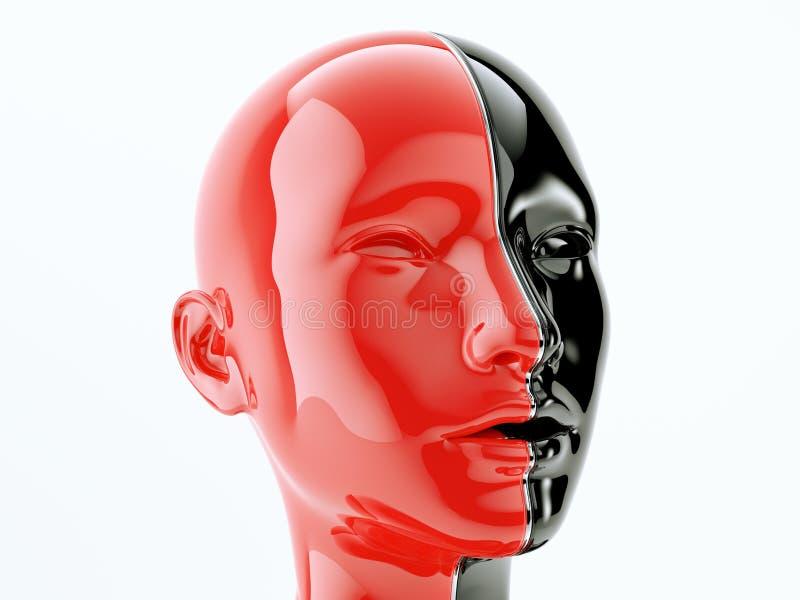 Cabeza humana separada por la línea como símbolo de la balanza y de la diversidad stock de ilustración