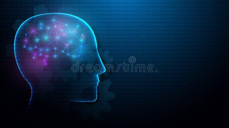 Cabeza humana y cerebro con concepto de la inteligencia artificial de líneas, de triángulos y del diseño del estilo de la partícu ilustración del vector