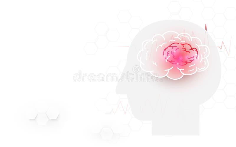Cabeza humana y movimiento del cerebro en el fondo blanco stock de ilustración