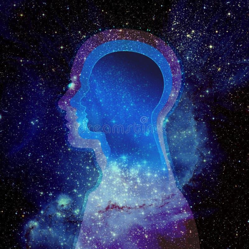 Cabeza humana y universo fotos de archivo