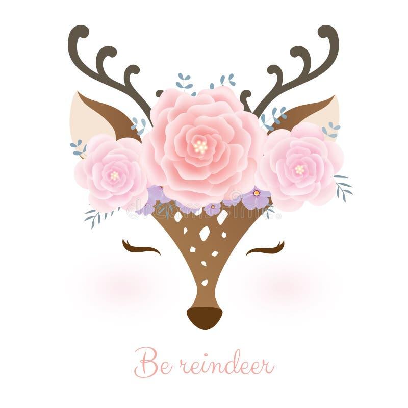 Cabeza linda de los ciervos con la corona de la flor stock de ilustración