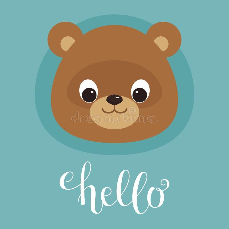 Cabeza linda del oso de peluche ilustración del vector