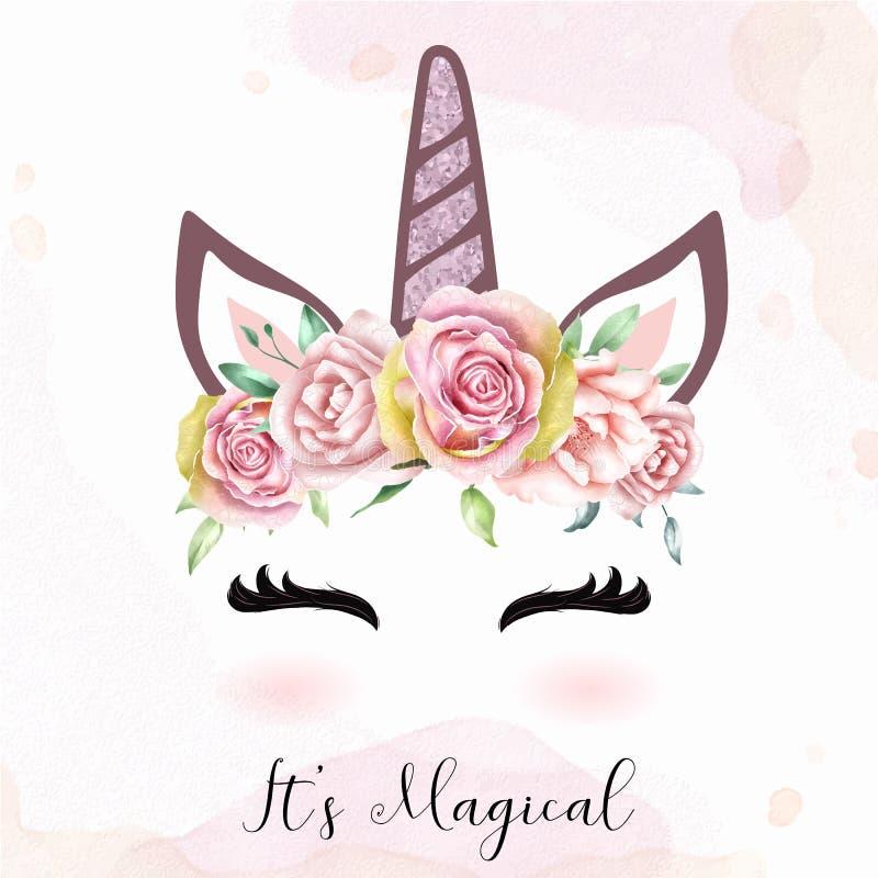 Cabeza linda del unicornio con la corona floral de la acuarela stock de ilustración