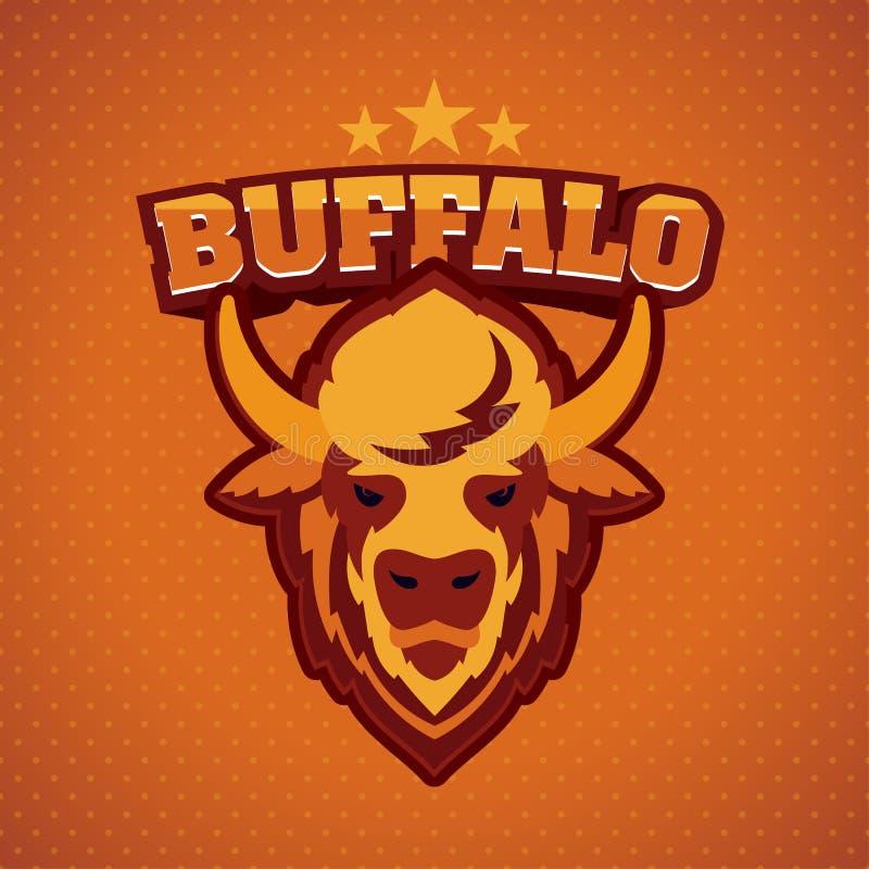 Cabeza Logo Mascot del búfalo stock de ilustración