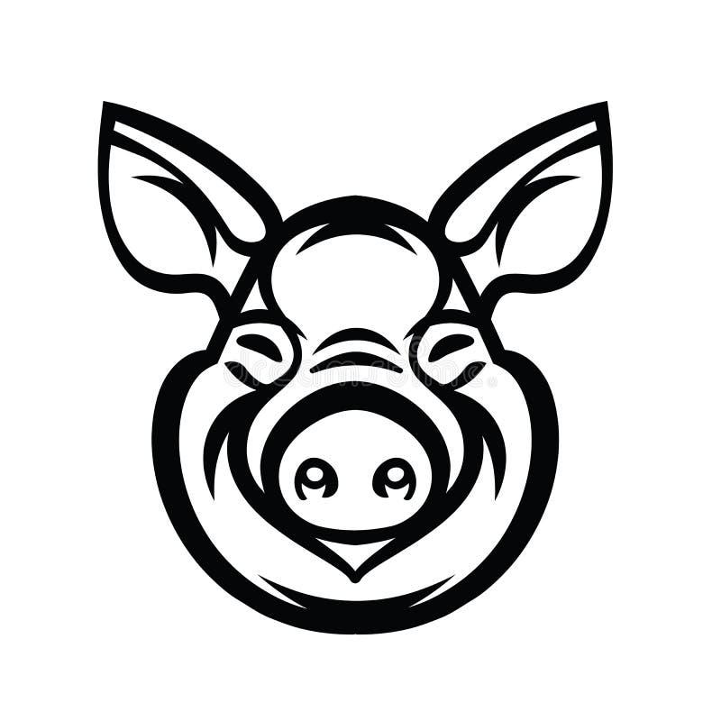 Cabeza Logo Mascot Emblem del cerdo stock de ilustración