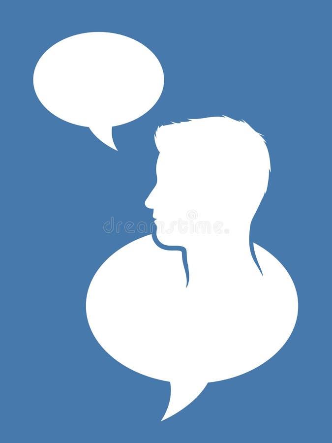 Cabeza masculina dentro de una burbuja del discurso stock de ilustración