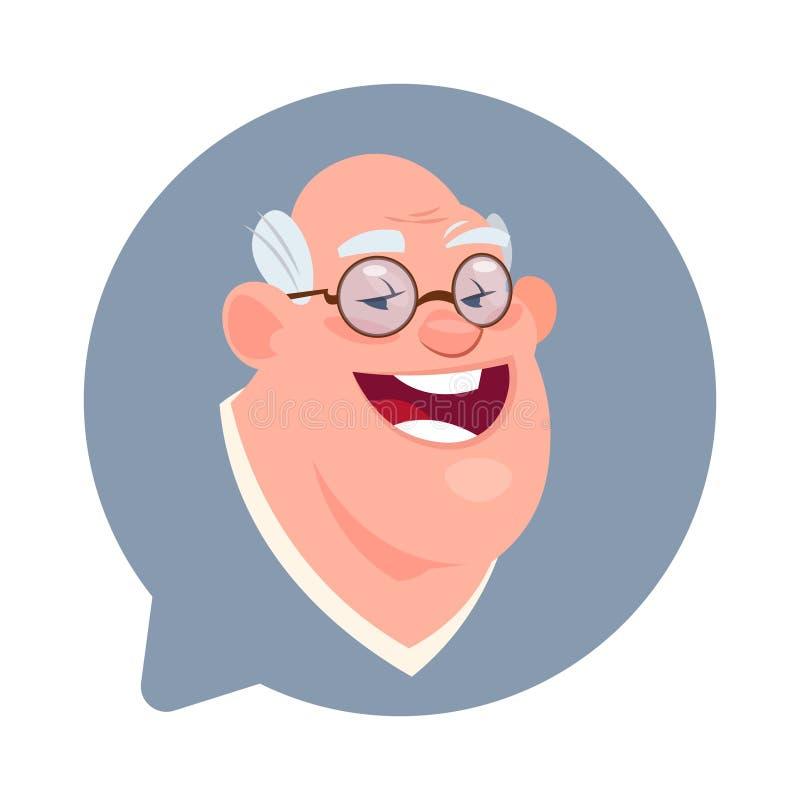Cabeza masculina mayor del icono del perfil en la burbuja aislada, retrato de la charla del personaje de dibujos animados de Avat stock de ilustración