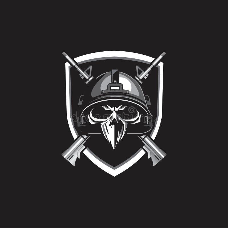 Cabeza militar del cráneo con diseño del rifle ilustración del vector