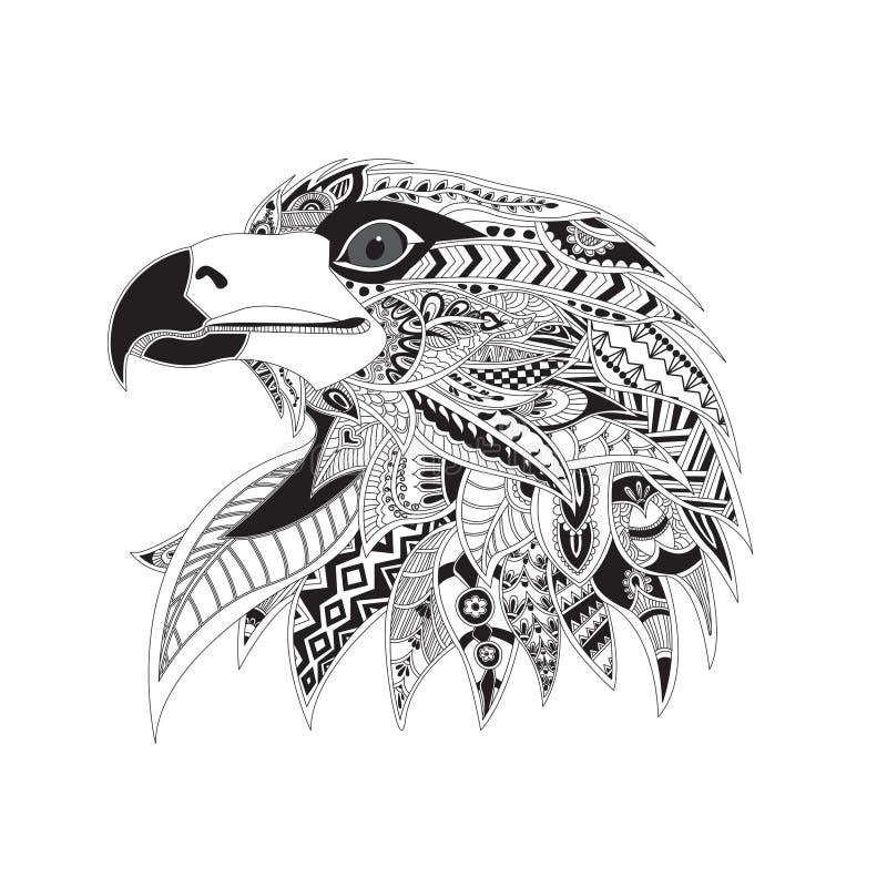 Cabeza modelada de un águila stock de ilustración