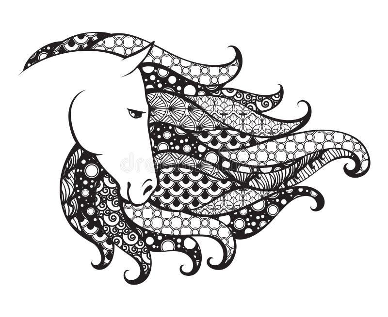 Cabeza modelada Ornamental del caballo Ejemplo del vector del garabato de Zentangle Gráfico blanco y negro stock de ilustración