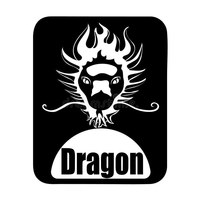 Cabeza monocromática animal del dragón del logotipo del calendario chino ilustración del vector