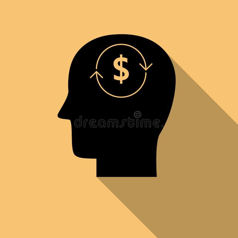 Cabeza negra con el icono del vector del símbolo del dólar con la sombra larga libre illustration