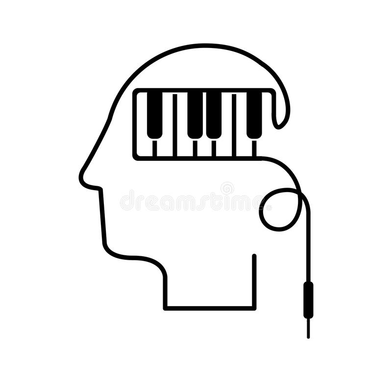 Cabeza negra de la silueta con llaves del piano ilustración del vector