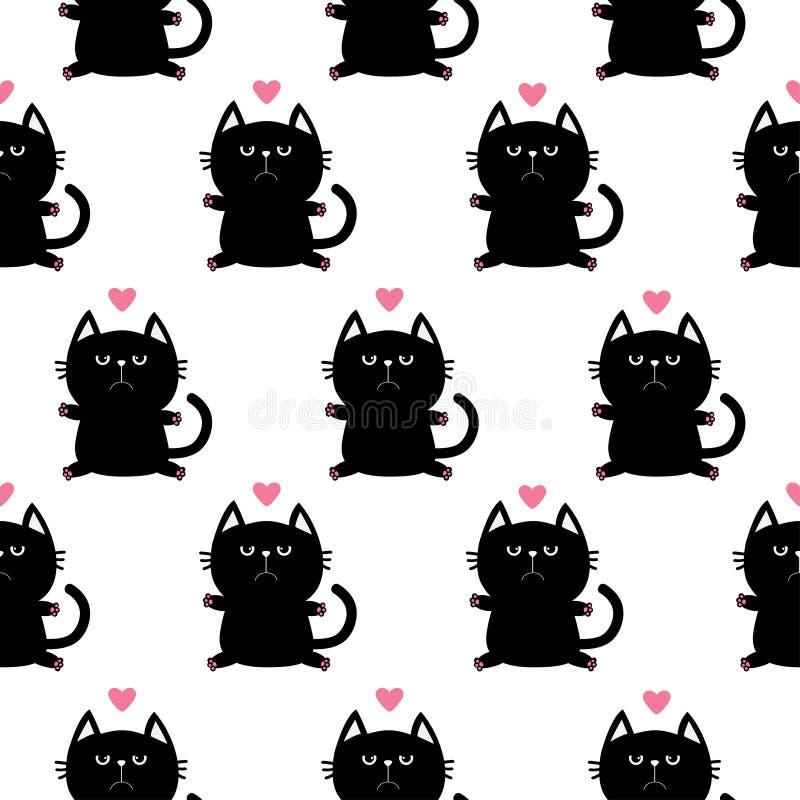Cabeza negra del gato que se sienta con la impresión de la pata y poco corazón rosado Personaje de dibujos animados lindo Colecci stock de ilustración