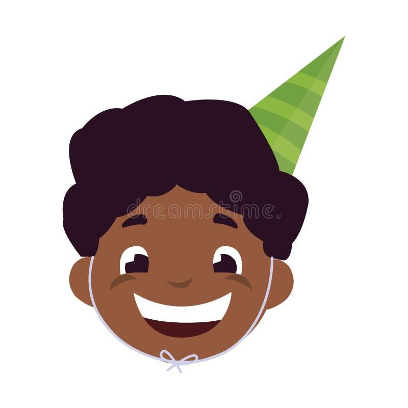Cabeza negra feliz linda del muchacho con el sombrero del cumpleaños libre illustration