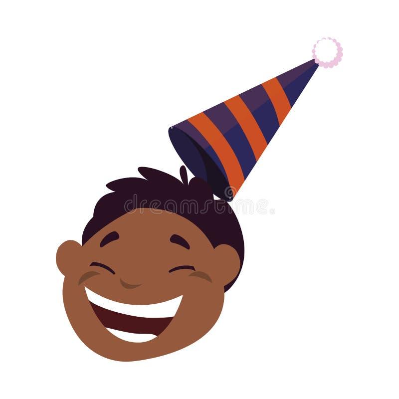 Cabeza negra feliz linda del muchacho con el sombrero del cumpleaños ilustración del vector