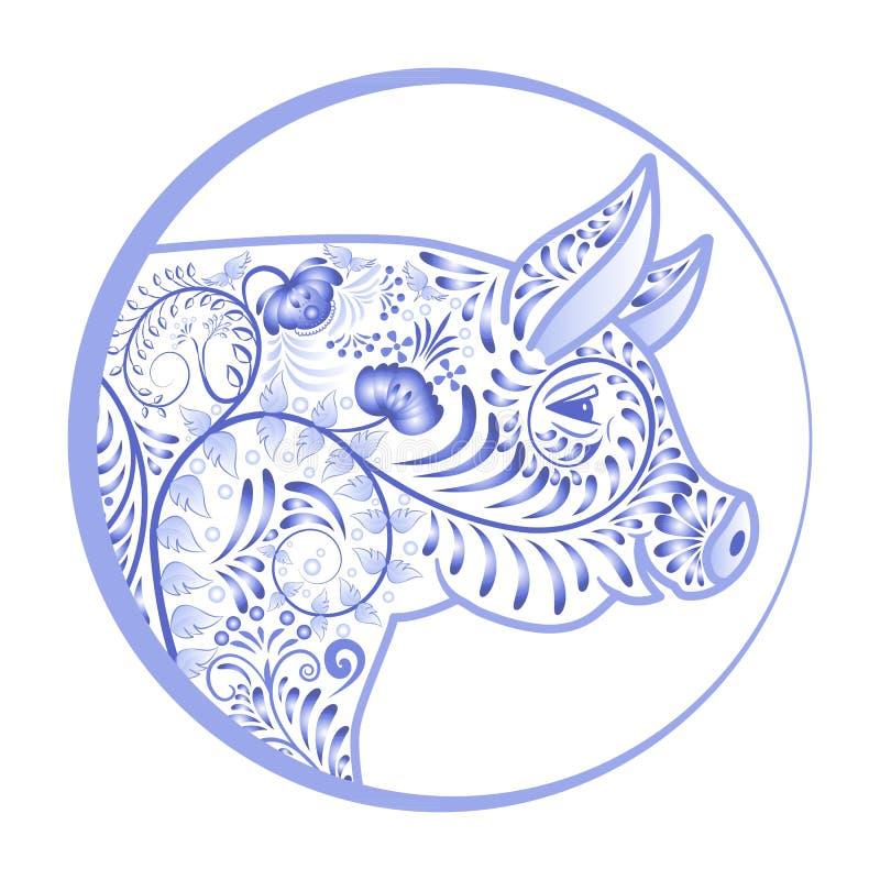 Cabeza ornamental azul del cerdo en un círculo Emblema de la flor en el estilo de la pintura nacional de la porcelana libre illustration