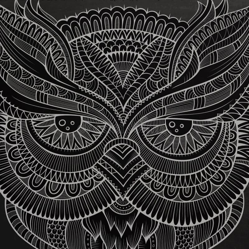 Cabeza ornamental decorativa del búho ilustración del vector
