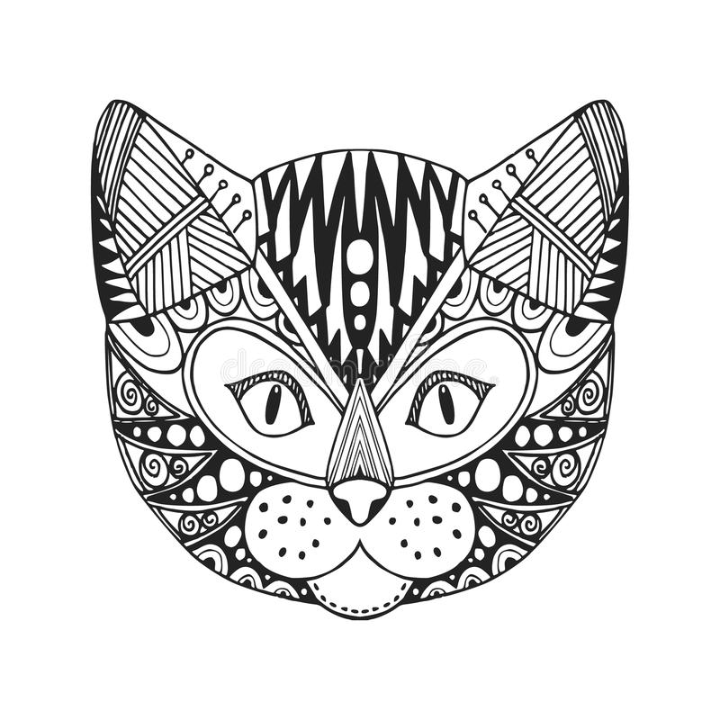 Cabeza ornamental del gato, diseño étnico de moda del zentangle, mano dibujada, libre illustration