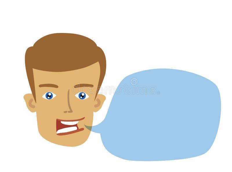 cabeza plana alegre del hombre con la burbuja del discurso ilustración del vector