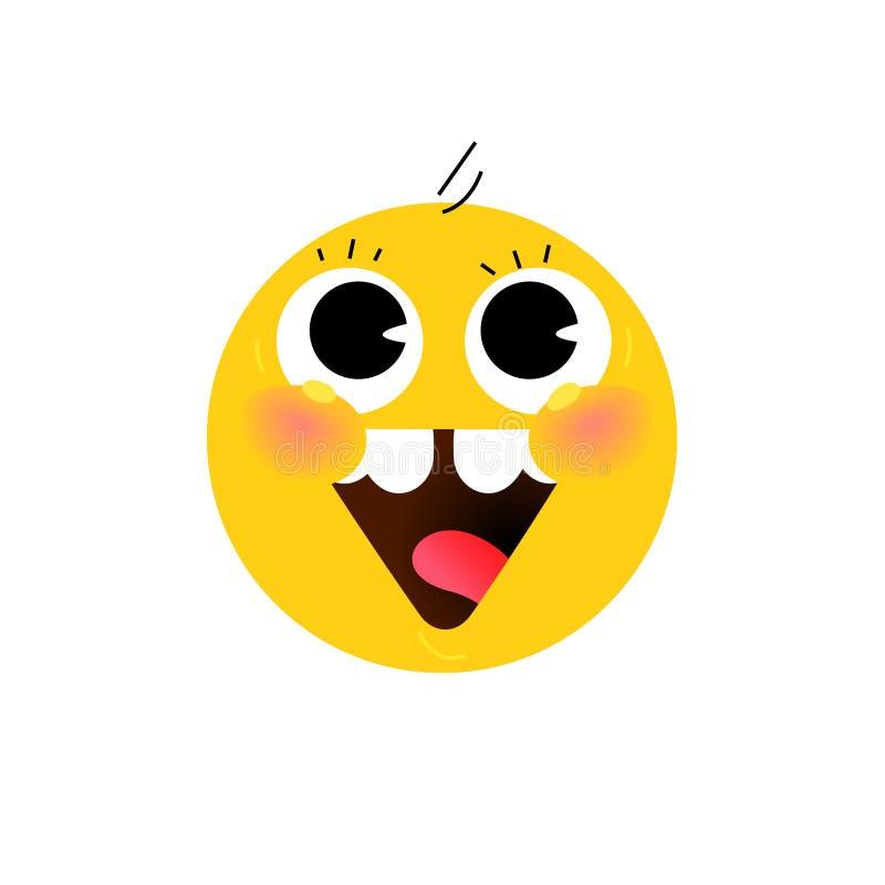 Cabeza redonda amarilla, cara El icono está sonriendo Vector Ejemplo plano del rostro humano estilizado Muestra redonda Cara amar libre illustration