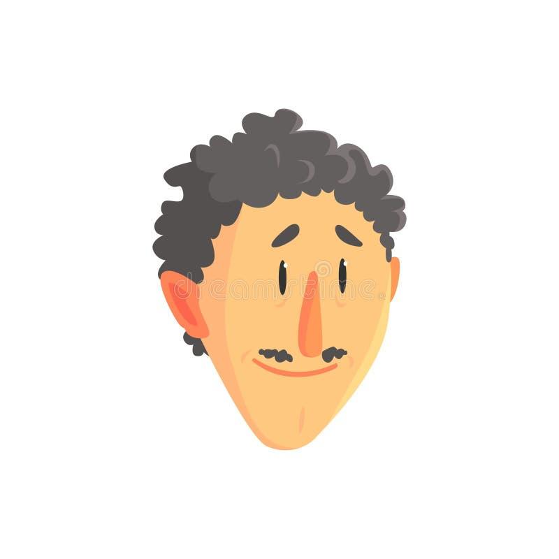 Cabeza rizada joven del hombre, cara masculina positiva con el ejemplo del vector del personaje de dibujos animados del bigote ilustración del vector