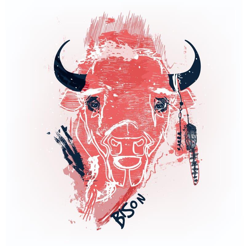 Cabeza roja del bisonte stock de ilustración