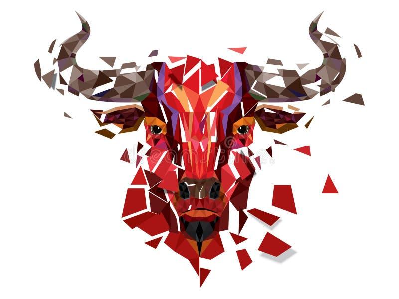 Cabeza roja del toro del polígono bajo con el illustr geométrico del vector del modelo stock de ilustración