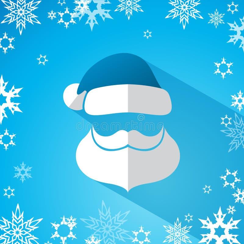 Cabeza simple de Papá Noel con el bigote, barba ilustración del vector