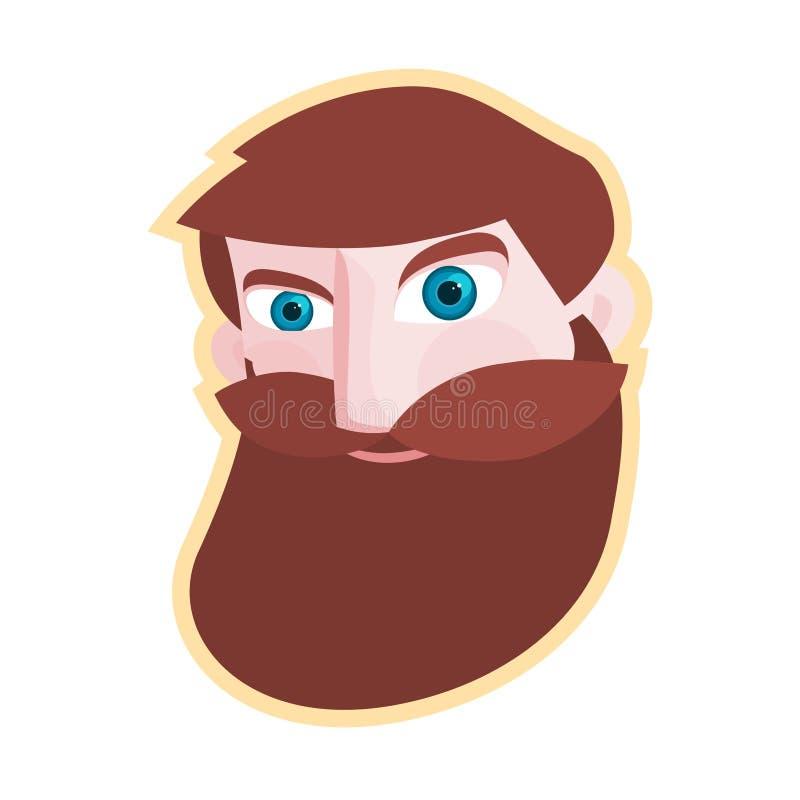 Cabeza simple del hombre barbudo del inconformista Dise?o plano stock de ilustración
