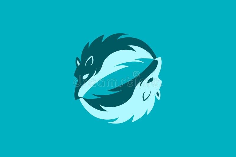 Cabeza simple Logo Icon de dos lobos stock de ilustración