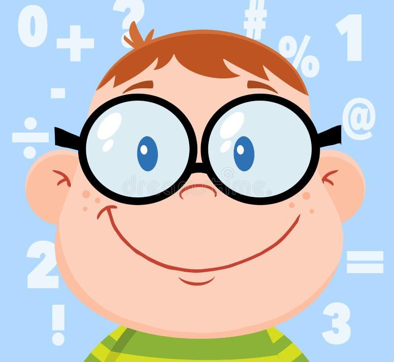 Cabeza sonriente del muchacho del friki con el fondo y los números libre illustration