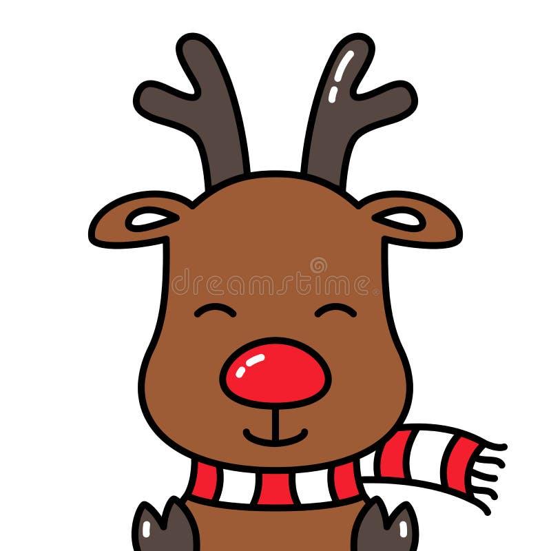Cabeza sonriente linda del avatar de Rudolph del reno aislada con la bufanda libre illustration