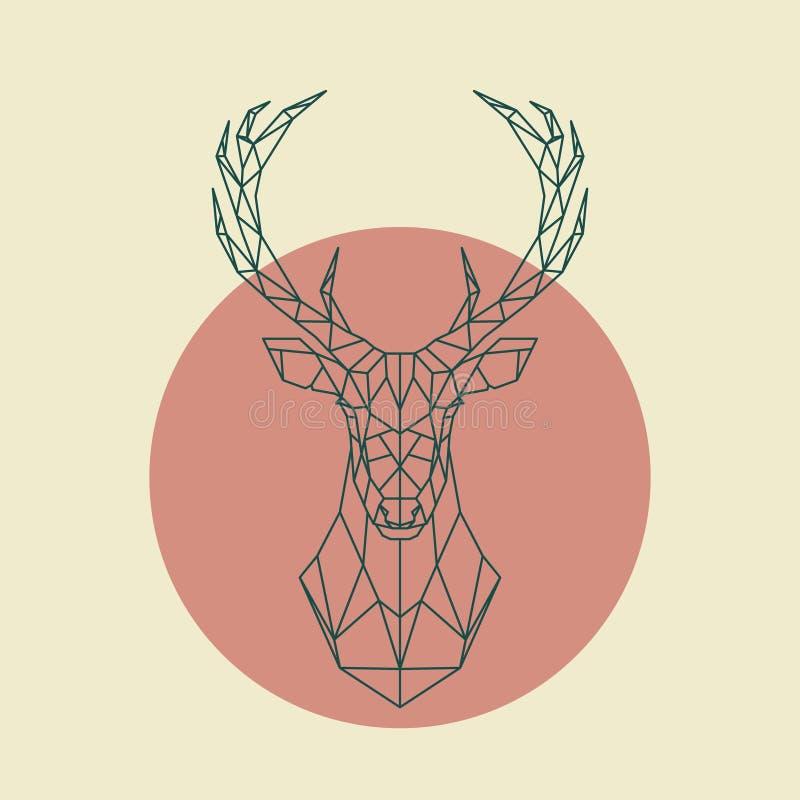 Cabeza verde geométrica de ciervos stock de ilustración