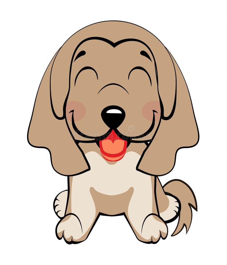 Cabeza y cara coloridas aisladas del labrador retriever feliz en el fondo blanco Retrato plano del perro de la raza de la histori ilustración del vector