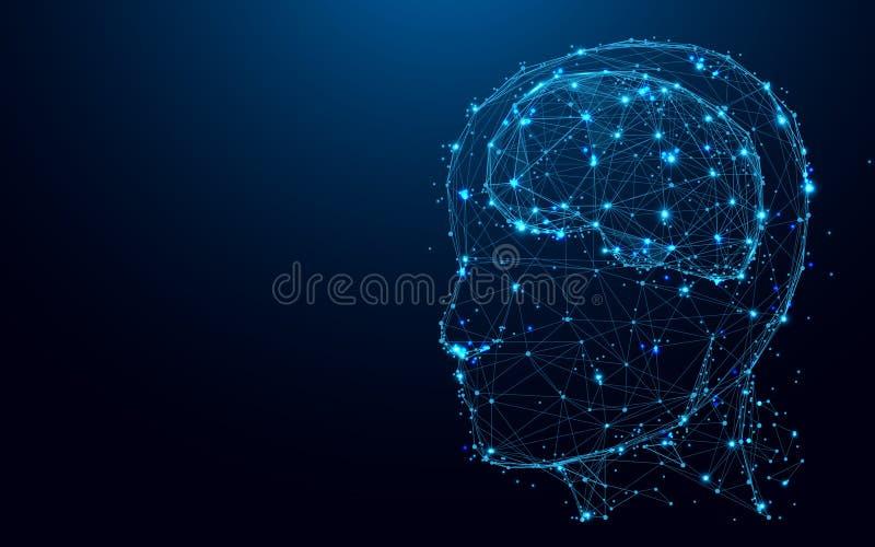 Cabeza y cerebro abstractos de las líneas y de los triángulos, red de conexión del punto en fondo azul libre illustration