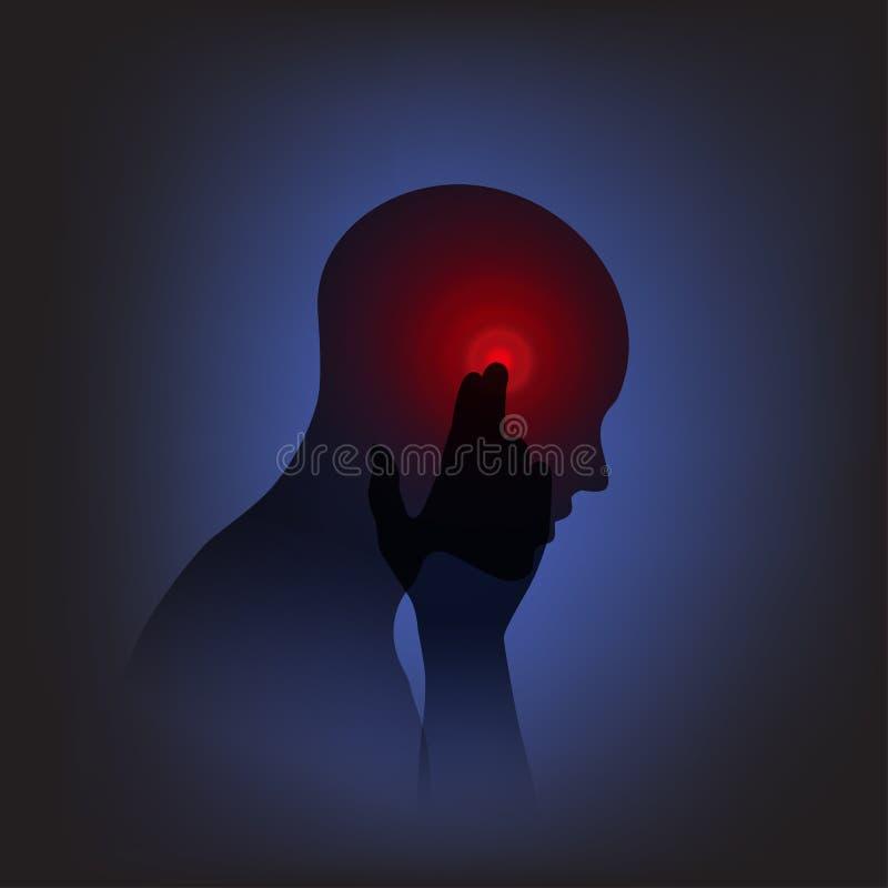 Cabeza y dolor stock de ilustración
