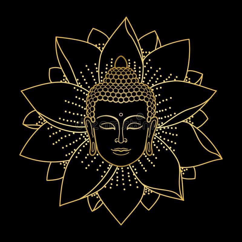 Cabeza y Lotus de Buda del oro ilustración del vector
