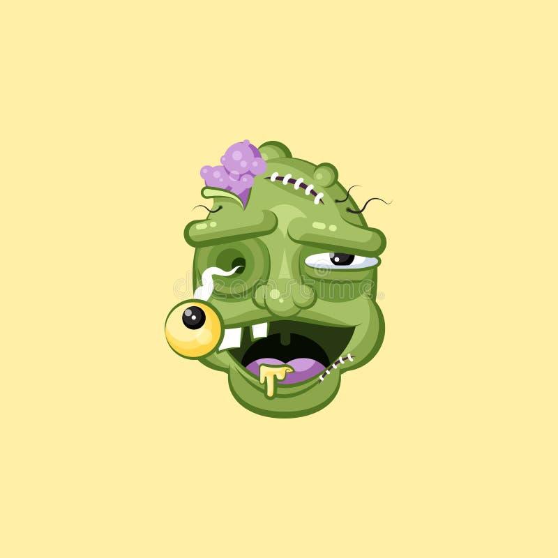 Cabeza, zombi sonriente terrible de la expresión facial con la emoción de risa libre illustration